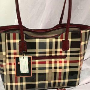 Handbags - Plaid tote patent